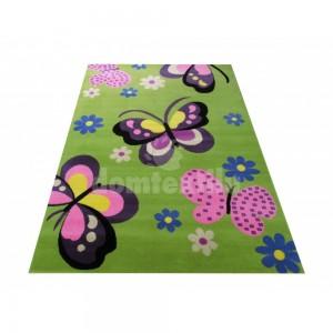 Zelený detský koberec s motýlikmi