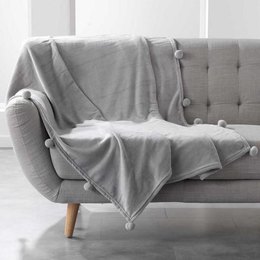 Svetlo sivá mäkká deka s guličkami POMPOM
