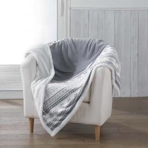 Sivá hrejivá deka so zimným motívom FINLAND