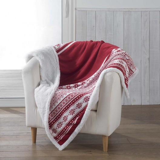Zimná deka červenej farby s kožúškom FINLAND
