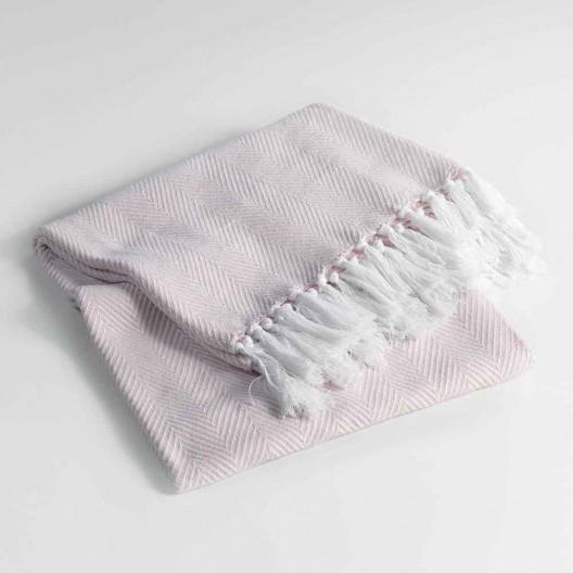 Bavlnená deka ružovej farby ENOA