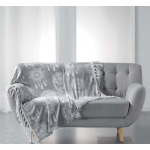 Luxusná deka sivej farby s lapačmi snov HOMEA