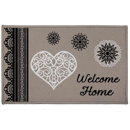 Béžový koberček do kúpeľne s nápisom Welcome home ANGELINE