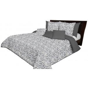 Sivo bielo zlatý prehoz na manželskú posteľ obojstranný