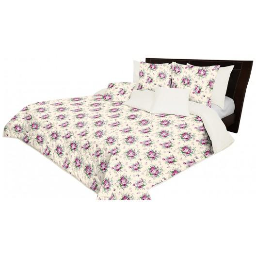 Krémový prehoz na posteľ obojstranný s kvetinovým motívom