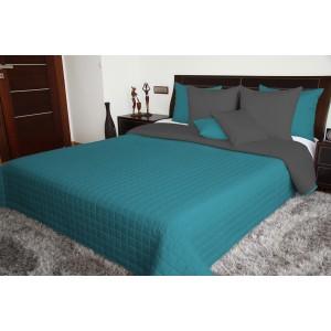 Tyrkysovo sivý prehoz na posteľ obojstranný