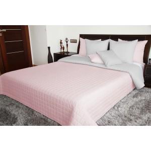Prehoz na posteľ ružovo sivý obojstranný prešívaný