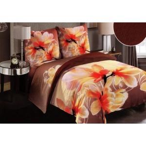 Hnedé posteľné obliečky kvetované plyšové