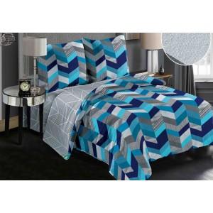 Plyšové posteľné obliečky s moderným modrým vzorom obojstranné