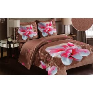 Návliečky na posteľ hnedej farby s ružovým kvetom z mäkkého materiálu