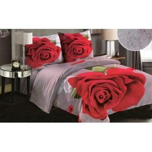 Teplé sivé obliečky na paplón s motívom ruže