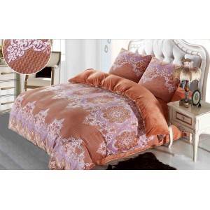 Elegantné hnedo ružové plyšové posteľné návliečky s ornamentom