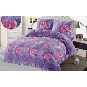 Teplé fialové posteľné obliečky s kvetinovým vzorom