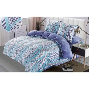 Modro fialové teplé posteľné návliečky s motívom vlniek