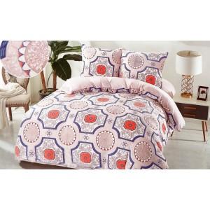 Vzorované návliečky na posteľ béžovej farby