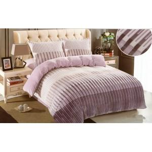 Plyšové pruhované obliečky na postel s pruhovaným motívom