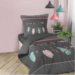 Sivé bavlnené posteľné obliečky s pierkami INDIEN 140 x 200 cm