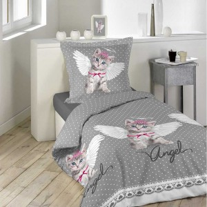 Bodkované sivé posteľné obliečky s mačičkou KITTY