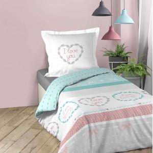 Romantické posteľné obliečky z bavlny s nápisom LILOU