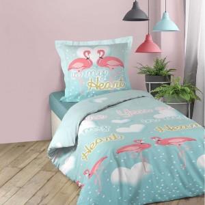 Moderné bavlnené posteľné návliečky s plameniakmi MY HEART
