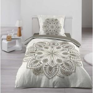 Béžové posteľné obliečky so vzorom mandaly ALCOBE