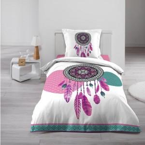 Štýlové návliečky na posteľ bielej farby s lapačom snov ENOLA