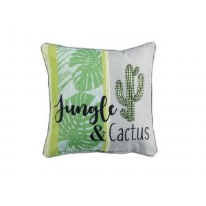 Zeleno biely dekoračný vankúš s kaktusom GUYANE