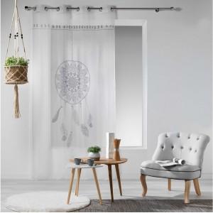 Biela záclona so sivým lapačom snov REVELINE