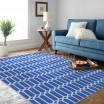 Štýlový modrý koberec do obývačky