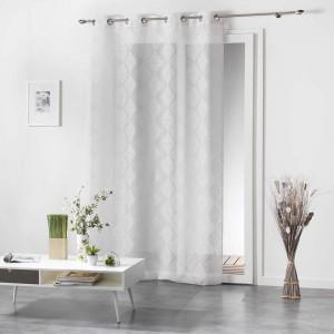 Jednofarebné záclony so vzorom biele LOZAE