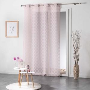 Dlhé záclony ružovej farby do spálne SOLEDAD