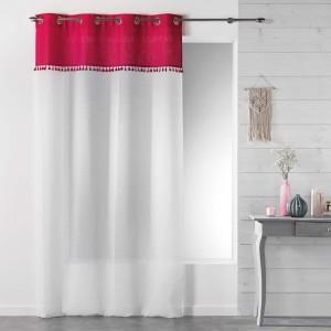 Moderné záclony biele s ružovým vrchom a strapčekmi SONEVA