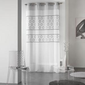 Elegantné záclony biele so sivým vzorom TEORO