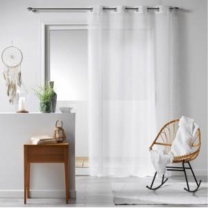 Dlhá jednofarebná biela záclona so zavesením na kruhy BOHO CHIC
