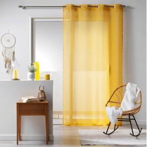 Žltá záclona s ozdobným okrajom BOHO CHIC