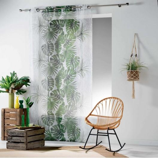 Moderná záclona s potlačou listov BLOGGIO