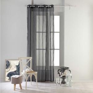 Pruhované záclony tmavo sivej farby NUAGE