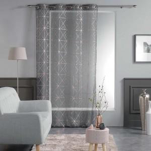 Luxusné tmavo sivé vzorované záclony QUADRIS