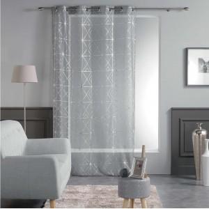 Svetlo sivé záclony s moderným vzorom QUADRIS