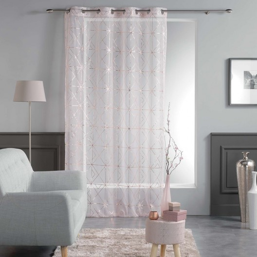 Štýlové ružové záclony do obývačky QUADRIS