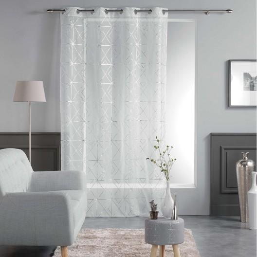 Vzorované biele záclony moderné QUADRIS