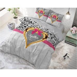 Sivé posteľné obliečky s nápisom TOGETHER FOREVER