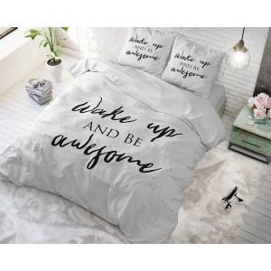Biele bodkované návliečky s nápisom WAKE UP