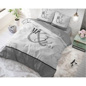 Sivé posteľné obliečky pre páry MARBLE