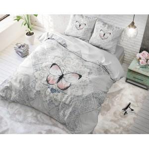 Francúzske posteľné obliečky sivé s motýľom MAGICAL