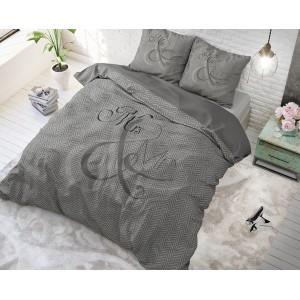 Mr and Mrs tmavo sivé posteľné obliečky KNITTED ANTHRA