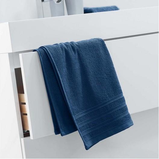 Tmavo modrá veľká osuška z bavlny