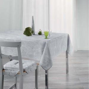 Sivý obrus do kuchyne s jemnou potlačou listov GATSBY