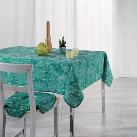 Obrus do kuchyne zelenej farby s listovým vzorom GATSBY