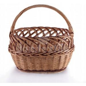 Prútený košík s pleteným vrkočom